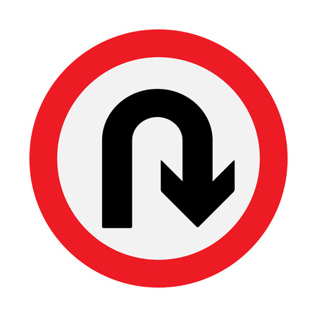 uturn: Prohibition Sign U-turn . Vector illustrations