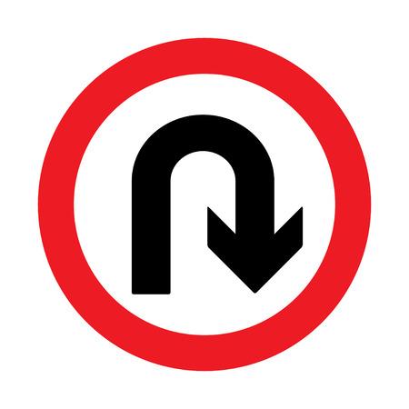 interdiction: Interdiction Inscription demi-tour. illustrations vectorielles Illustration
