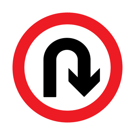 prohibition: Prohibition Sign U-turn . Vector illustrations