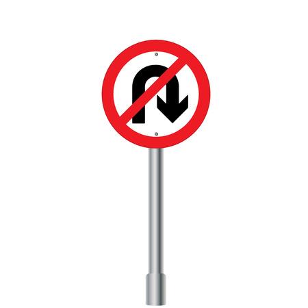 uturn: Prohibition Sign U-turn . Vector illustrations