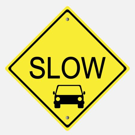 교통 표지판 . 느린 기호