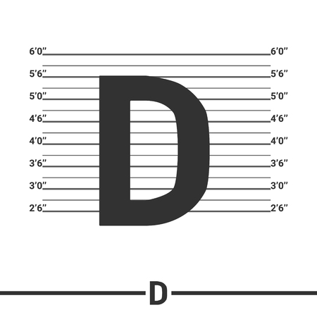 mugshot: Letter D logo icon design .  Concept  white police lineup or mugshot vector background