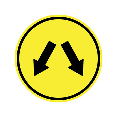 danger ahead: traffic  sign . Left  or Right Sign