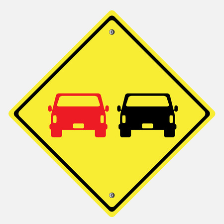 danger ahead: traffic sign . car overtaking sign