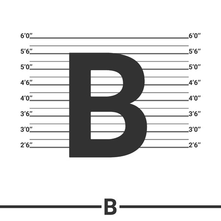 mugshot: Letter B logo icon design .  Concept  white police lineup or mugshot vector background