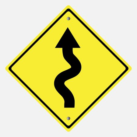 street signs: Traffic sign . winding roadsign vector illustration Illustration