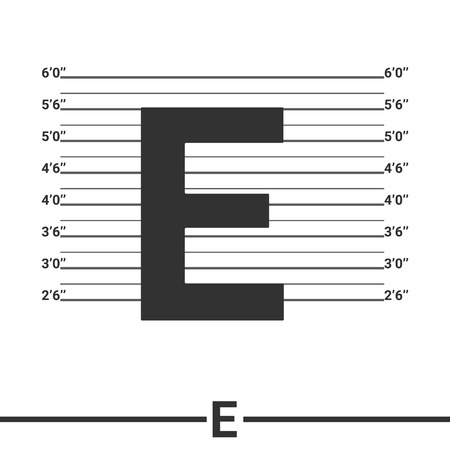 mugshot: Letter E logo icon design .  Concept  white police lineup or mugshot vector background