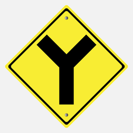 danger ahead: Traffic sign . Y intersection   vector illustration