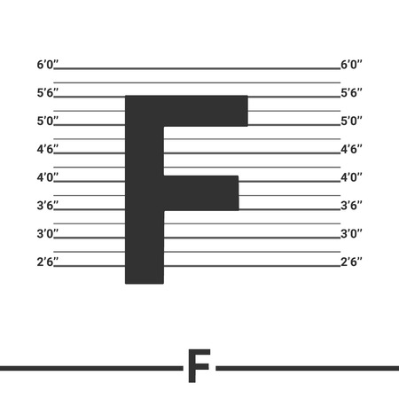mugshot: Letter  F  logo icon design .  Concept  white police lineup or mugshot vector background