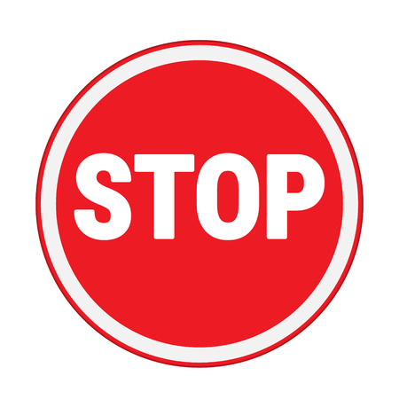 with stop sign: traffic sign , stop sign circle Isolated road warning Illustration