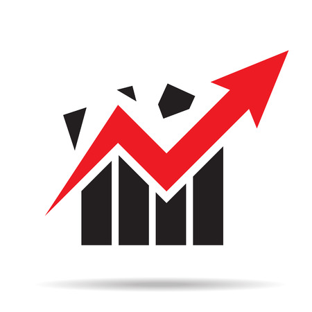growth chart: graph grow up logo. vector illustration