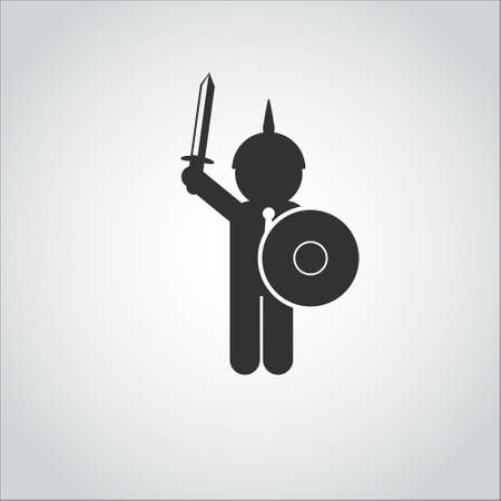 protect: Businessman war sword protect logo Illustration
