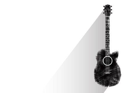gitara: Gitara czarny abstrakcyjne ilustracji wektorowych odizolowane