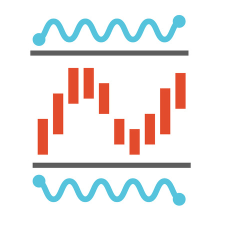 logo marketing: analysis bar graph analog wave  flat design Illustration