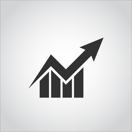 up arrow: business graph stock  chart icon  flat design style