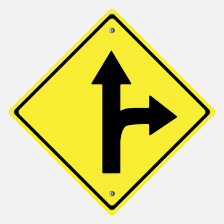 danger ahead: Traffic sign . Drive Straight or Right  Sing