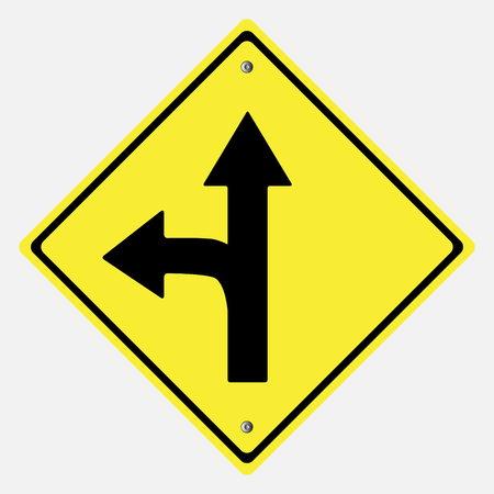 danger ahead: Traffic sign . Drive Straight or  Left  Sing