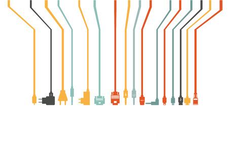 플러그 와이어 케이블 컴퓨터 다채로운 벡터 일러스트 레이 션 스톡 콘텐츠