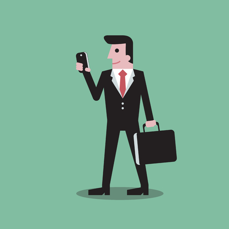 telephone salesman: Businessman holding phone  business bag  character cartoon  business concept  vector illustration