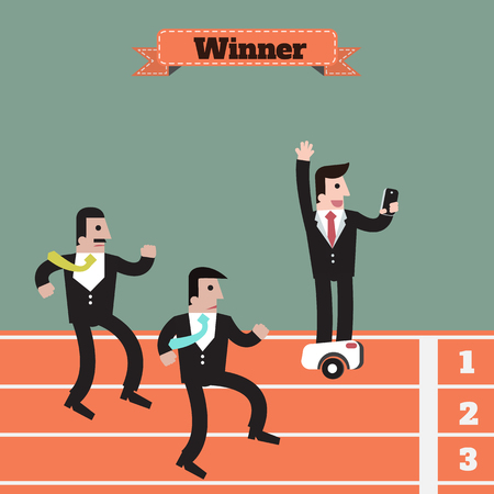 overcome: businessman  running winner victory , use modern technology to overcome