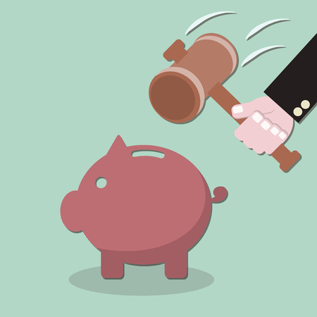 threatening: Smashed piggy bank  ,  hand holding a hammer , flat design vector illustration