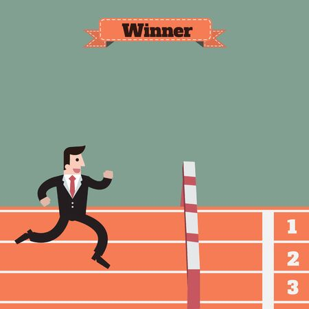 obstacle: businessman running and  jump obstacle