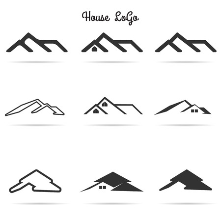 suburb: house icon set