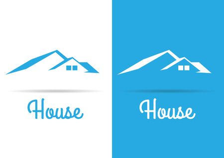 real estate house: House Real Estate  blue design template Illustration