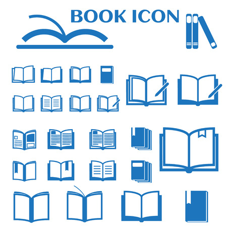 Book icons set blue vector illustration