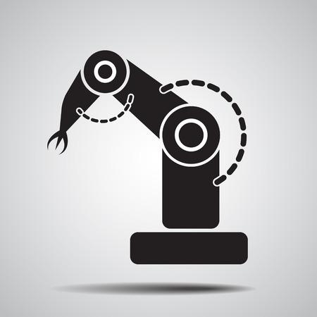 robot: Ramię robota ikonę symbolu. Ikona rozwoju produktu Robot. Ikona robota. Ikona robotem przemysłowym. ilustracji wektorowych