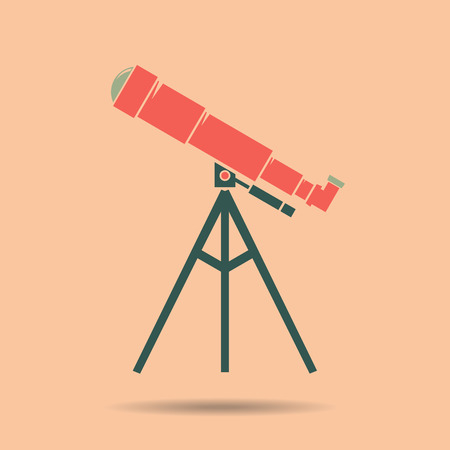 Telescope Flat design . Telescope Icon . Telescope Icon Vector  . Telescope color. Telescope vintage . Telescope vector illustration Illustration