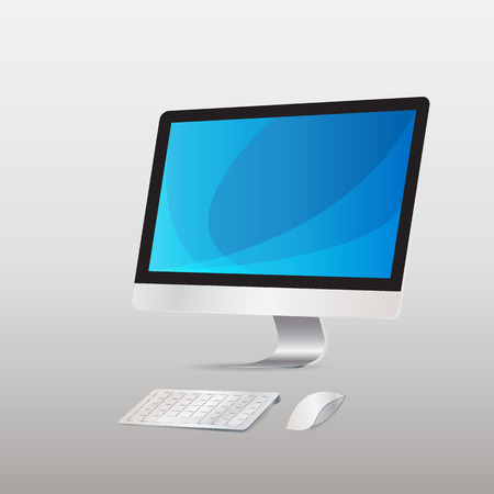 keyboard and mouse: Computer display with keyboard mouse wireless  isolated  background   .  Illustration