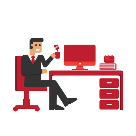 legged: Business Man Hold the coffee cup .
