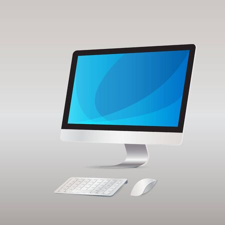 keyboard and mouse: Computer display with keyboard mouse wireless  isolated  background  Illustration