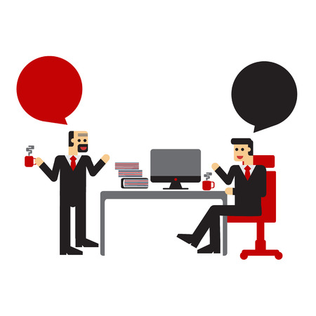 sipping: Businessman talk can change the present  on the table chair.