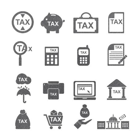 reducing: tax icon silhouette  set  . vintage  paper texture Stock Photo