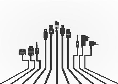 hdmi: Plug Wire Cable Computer  vector illustration Illustration