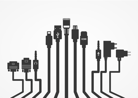 Plug Wire Cable Computer  vector illustration  イラスト・ベクター素材