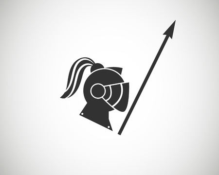 trooper: knight casque  horse trooper . chevalier .logo mark symbol identity . design idea  war fight sword creative Illustration