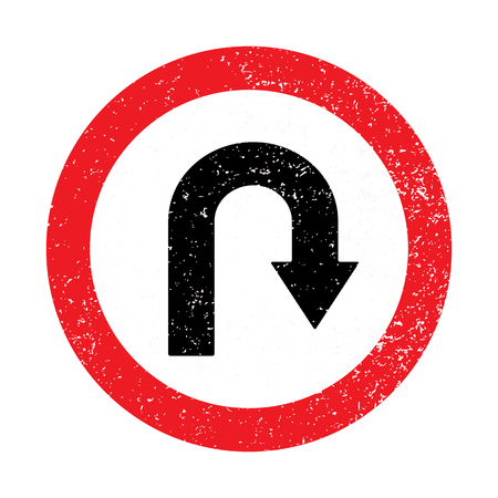uturn: Sign U-turn Grunge Old  Retro. Vector illustration