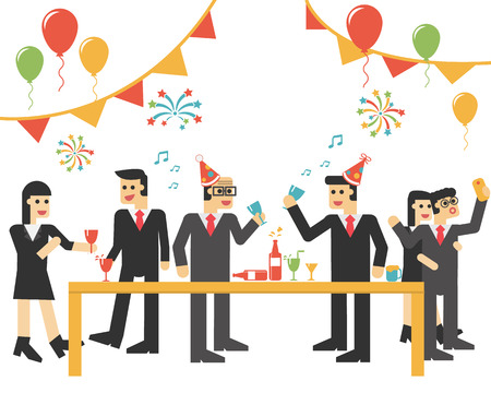 woman eating: The Party Celebration Business  ,  Business team enjoying some lunch at work   ,Happy business group people, Vector illustration Eps10