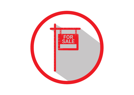 Home For Sale Real Estate Sign . House Real Estate logo design. long Shadow icon Logo