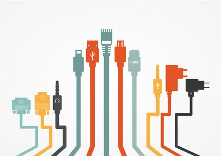 Fil de fiche Câble d'ordinateur coloré illustration vectorielle