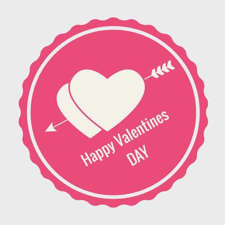 Valentines Day Eements Lettering Card  Vector Illustrations