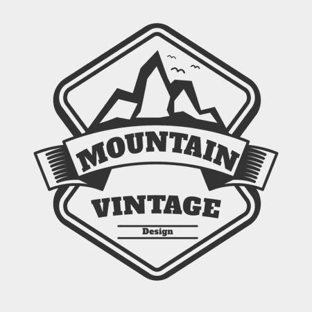 retro badge: vintage badge   Concept Mountain , retro badge design   , label element , vector Illustration