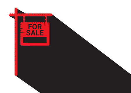 real estate sign: Home For Sale Real Estate Sign  . House Real Estate   design. long Shadow icon