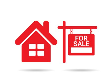 real estate house: Home For Sale Real Estate Sign  . House Real Estate   design Illustration