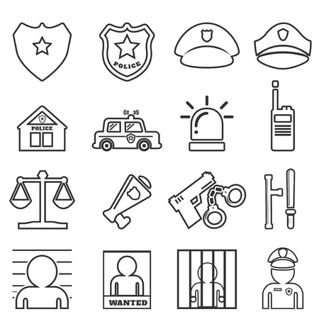 carcel: La l�nea de polic�a icono de mono Vectores