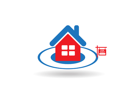 house for sale: Home For Sale Real Estate Sign  . House Real Estate   design Illustration