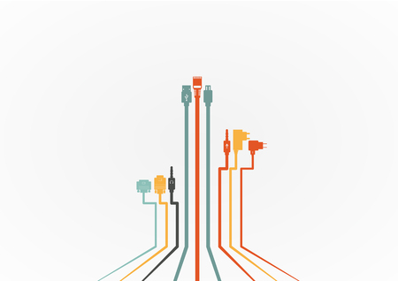 adapter: Plug Wire Cable Computer colorful vector illustration